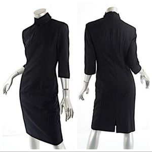 Mock Neck Black Wool Cashmere 3/4 Sleeve Dress